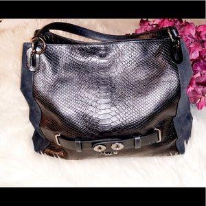 COACH Snake Print Leather Shoulder Bag